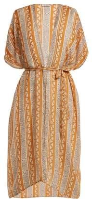 Mes Demoiselles Swahili Printed Silk Kimono - Womens - Orange Multi