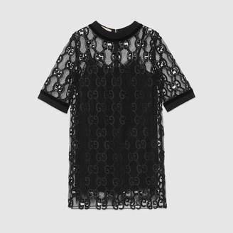 Gucci (グッチ) - GGレザー マクラメ ドレス