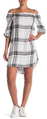 Velvet Heart Shaleene Plaid Off-the-Shoulder Shirtdress