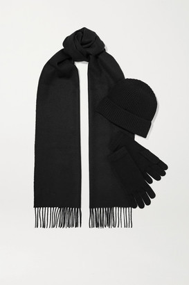Johnstons of Elgin Cashmere Beanie, Scarf And Gloves Set - Black
