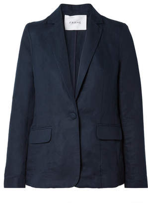 Frame Lyocell And Linen-blend Blazer - Navy