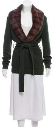 Tuleh Cashmere Fur-Trimmed Knit Cardigan