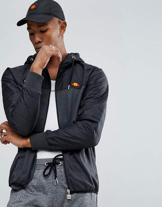 Ellesse Poly Tricot Jacket With Quilted Hood In Black