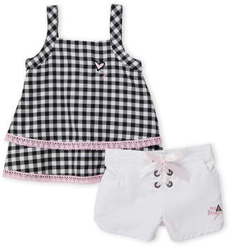 Betsey Johnson Girls 4-6x) Two-Piece Gingham Top & Lace-Up Shorts Set