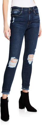 Frame Le High Skinny Crop Jeans with Ripped Knees