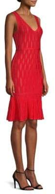 Herve Leger Jacquard Flounce Dress