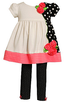 Bonnie Baby Infant Asymmetrical-Panel Dress & Solid Leggings Set