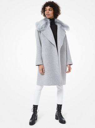 MICHAEL Michael Kors Faux Fur-Trim Wool-Blend Coat