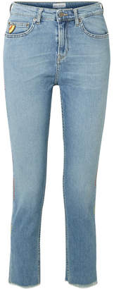 Mira Mikati Cropped Embroidered High-rise Straight-leg Jeans - Blue