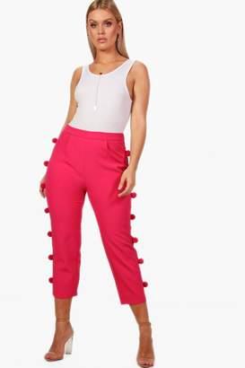 boohoo Plus Woven Pom Pom Slim Leg Trousers