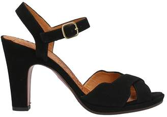 Chie Mihara Akisha Black Suede Leather Sandals