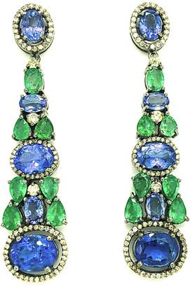 Arthur Marder Fine Jewelry 14K & Silver 19.55 Ct. Tw. Diamond & Gemstone Earrings