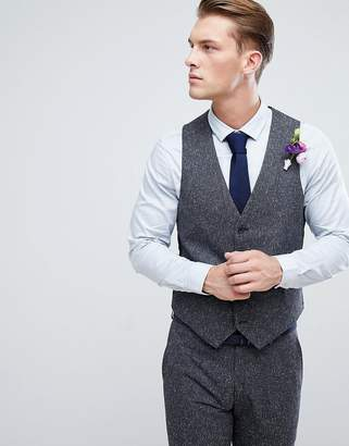 Farah Smart winter wedding skinny suit vest in fleck