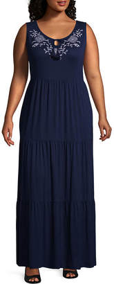 ST. JOHN'S BAY Sleeveless Tie Front Maxi Dress - Plus