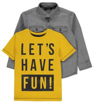 George Grey Denim Shirt and Yellow Slogan T Shirt Set