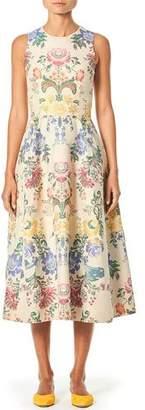 Carolina Herrera Sleeveless Peony-Print Poplin Midi Dress
