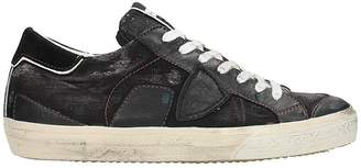 Philippe Model Bercy Black Denim Sneakers