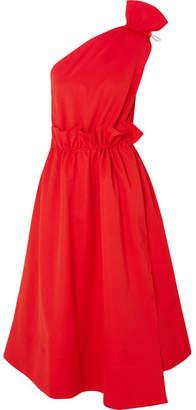 Goen J - One-shoulder Ruffled Jersey Midi Dress - Red