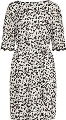 Reiss Noemie - Printed Dress in Olive/Off White