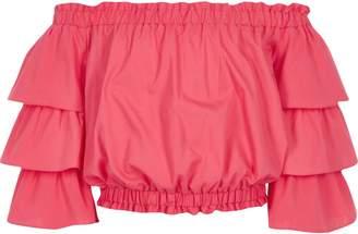 River Island Girls pink frill sleeve bardot top