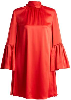 Fendi Tie-neck crepe-back satin dress