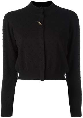 Class Roberto Cavalli brooch detail cropped cardigan