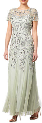 Adrianna Papell Petite Floral Beaded Godet Dress, Mint