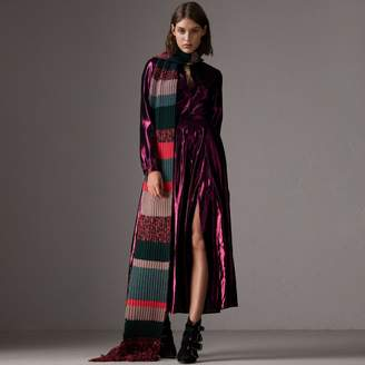 Burberry Long-sleeve Pintuck Lamé Dress