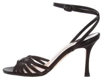 Manolo Blahnik Satin Ankle-Strap Sandals