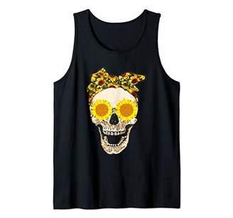 Sunflower Skull Shirt Tank Top