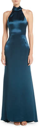 Jovani Cut-In Taffeta A-Line Halter Gown
