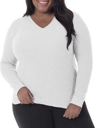 Fruit of the Loom Women's Plus Thermal Waffle V-Neck Top