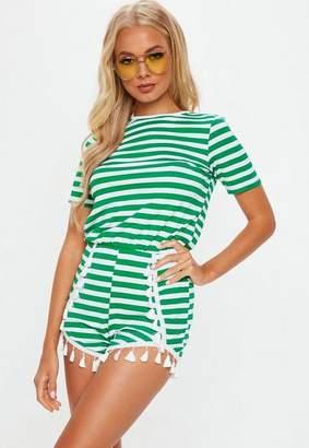 Missguided Green Striped Jersey Pompom Trim Romper