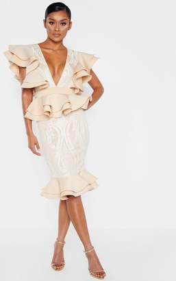 PrettyLittleThing Nude Ruffle Detail Plunge Midi Dress