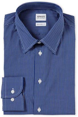 Armani Collezioni Navy Gingham Modern Fit Dress Shirt