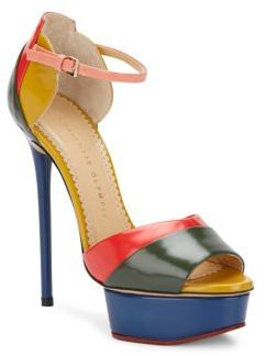 Charlotte Olympia Modern Colorblock Leather Platform Sandals