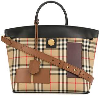 Burberry Vintage Check Society top handle bag