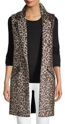 Open Front Longline Leopard Vest