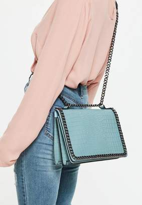 Missguided Blue Chain Trim Snake Skin Fold Over Cross Body Bag