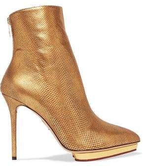COM Charlotte Olympia Deborah Metallic Karung Ankle Boots