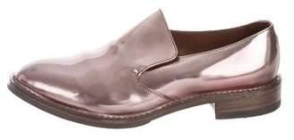 Brunello Cucinelli Metallic Leather Semi Point-Toe Loafers w/ Tags