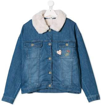 Chloé Kids shearling collar denim jacket