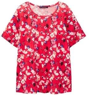 Violeta BY MANGO Flowers linen-blend T-shirt