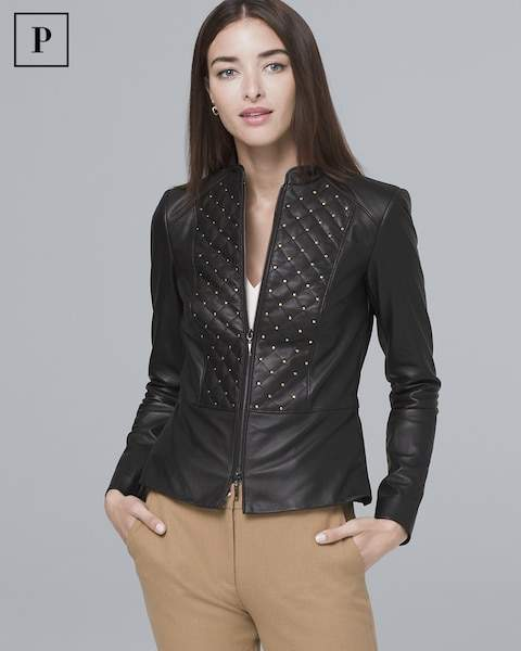 Whbm Petite Stud-Detail Leather Jacket