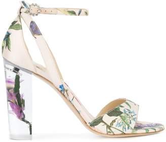 Monique Lhuillier botanical print side strap sandals
