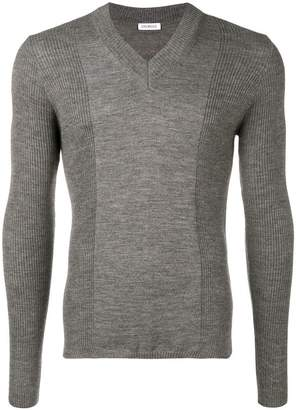 Dirk Bikkembergs panelled rib V-neck sweater