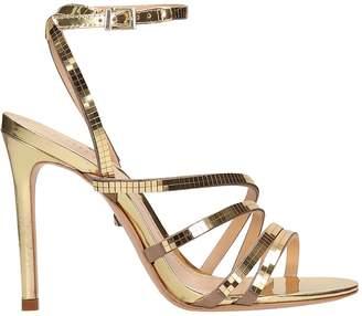Schutz Disco Mirror Gold Leather Sandals