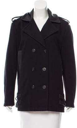 Diesel Leather-Trimmed Wool Jacket