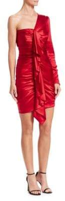 Alexandre Vauthier Silk One-Shouldered Ruched Mini Dress