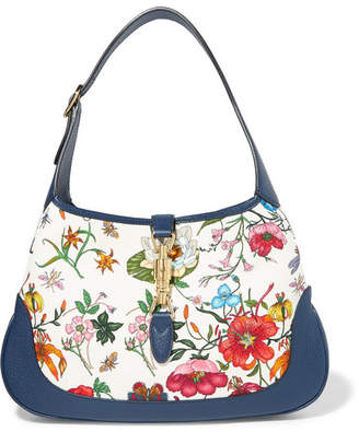 00a0ad8fe3fc Gucci Jackie Hobo Medium Floral-print Canvas And Textured-leather Shoulder  Bag - White
